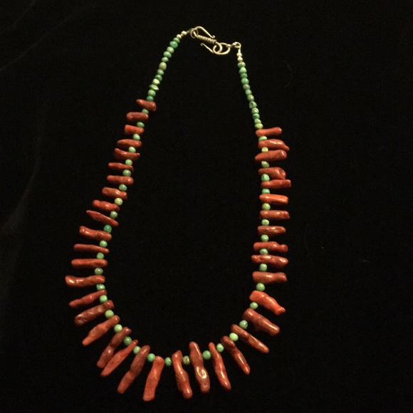 Jewelry - Turquoise and dyed coral necklace.